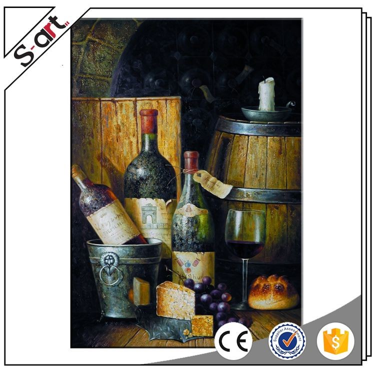 Top quality bottom price wine cup oil painting still life wall art