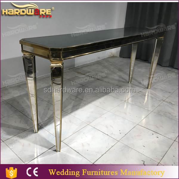 contemporary high long mirrored glass top bar tables