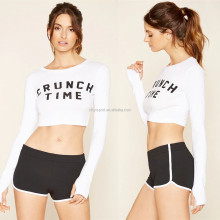 Latest crop tops design dri fit polyester casual wear white color women slim stretch t shirt with letter printing