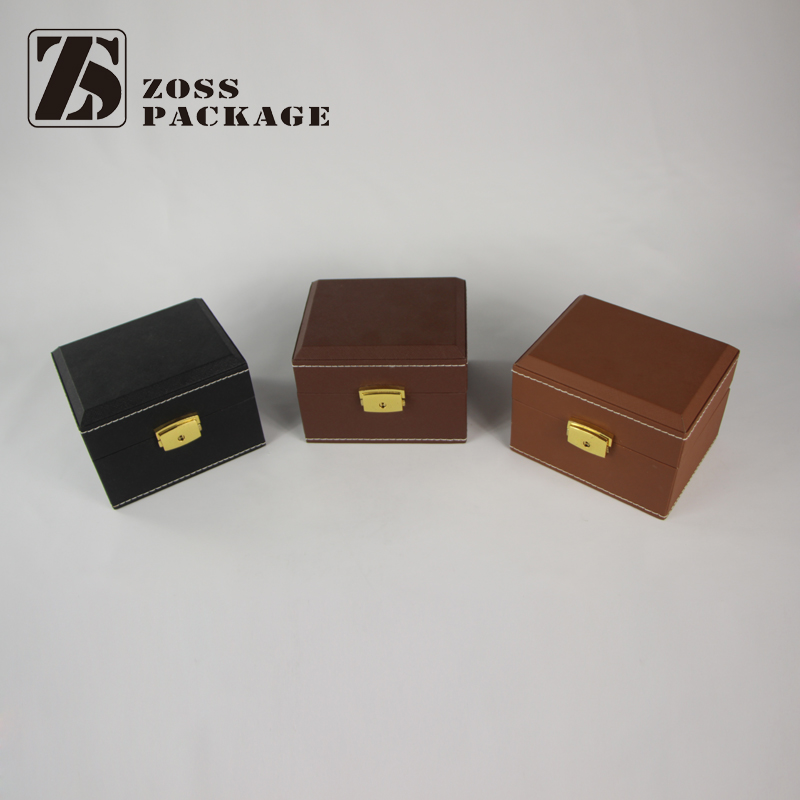 custom mdf pu leather watch gift box lacquered wooden watch packing box popular black lacquered single