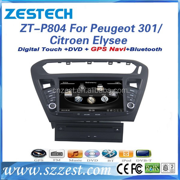 Wince 6.0 system touch screen 8'' screen size car dvd player for Peugeot 301/Citroen Elysee car mp3 player with car gps DVD 3G