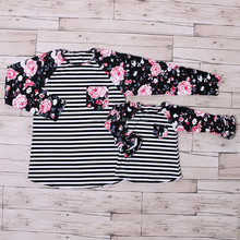 wholesale mom and me black print cotton 3/4 sleeve ruffle mommy and me raglan