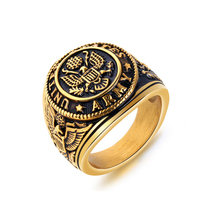 Western Personalized Stylish Classic Antique Army Gold Silver Vintage <strong>Rings</strong> Men Titanium Round Eagle Signet <strong>Ring</strong>