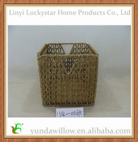 Folding Hanging Woven Straw Grass Rope Storage Basket For Crafts