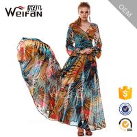 2016 new fashion design women dress long sleeve maxi dress printed chiffon dress