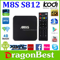 M8S Oem Amlogic S812 2.0Ghz Ultra Hd 4K 3D Blu-Ray Player Google Android 5.1 M8S Amlogic S812