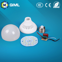 Energy saving led light bulb parts plastic SKD CKD led lamp parts 3w 5w 7w 9w 12w