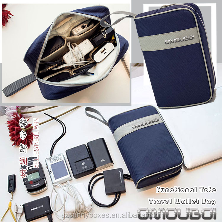 Functional Waterproof 600D Oxford Zipper Travel Wallet Bag For Mobile Phones & Digital Accessories
