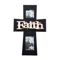 Funeral-Cross Home Decoration Picture Frame LED Lighted Faith Wooden Cross Funeral Decoration