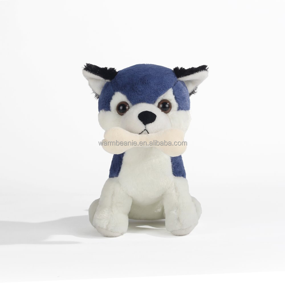 New design stuffed plush puppy husky dog with bone
