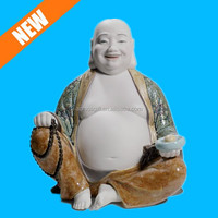 hand painted happy figurine porcelain buddha for sale