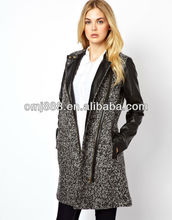 Wholesale trendy leather trim longline ladies long coat