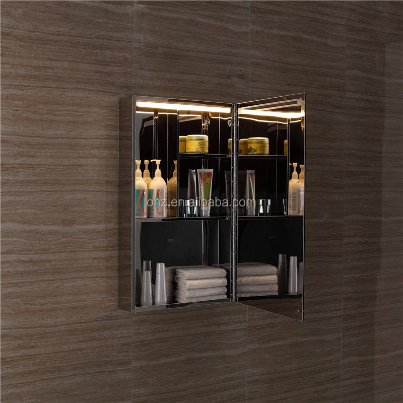 High glossy stainless steel bathroom wall mirror cabinet with led light 7103
