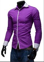 Hot Sale Contrast Collar <strong>Men's</strong> Dress <strong>Shirts</strong> M-2XL