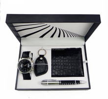 China watch factory wholesale promotional wallet,keychain,pen men watches gift set