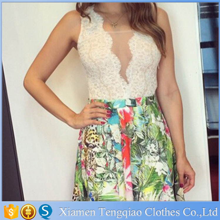 Wholesale Print Casual Women White Lace Dresses For Women 2015 Flower Girl Dress