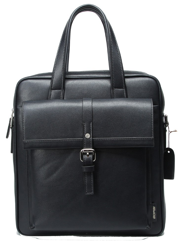 Fashion classic black cheap mens tote leather briefcase with front pocket