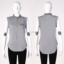 Sleeveless fashion design women's blouse different types of blouse designs for sale