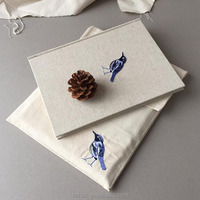 Embroidery Cotton Pouch with Flap, Cotton Book Bag