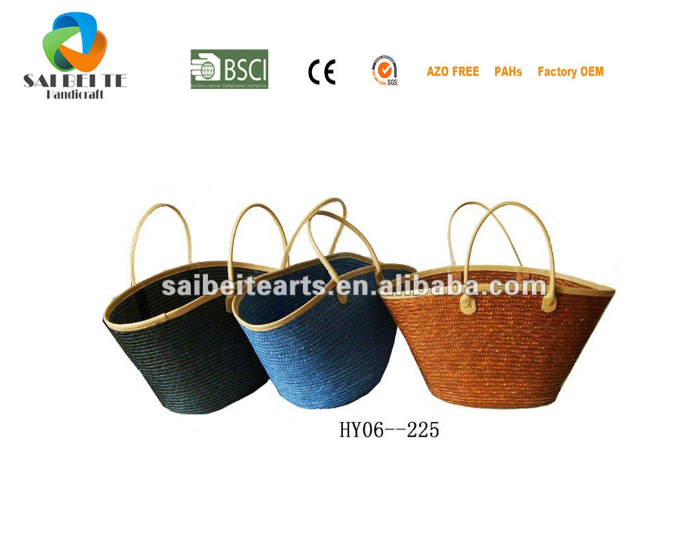 Hot Sale Handmade Imitation Straw Plastic Yarn Woven Handbag Tote bags