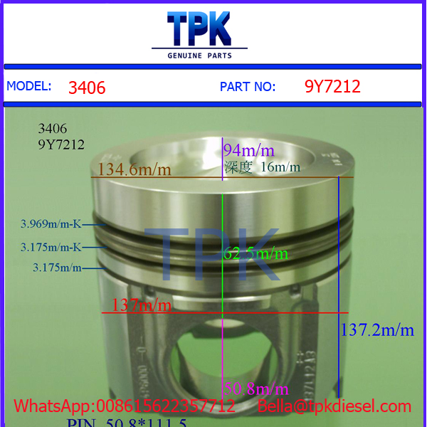 9Y7212 3406 3408 diesel engine piston