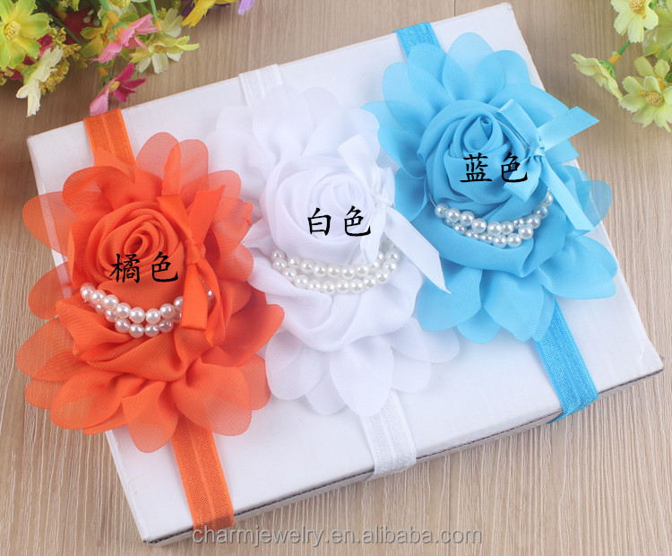 NEW baby pearl big flower headband Boutique + elastic hair bands+children hair accessories for kids BTS008