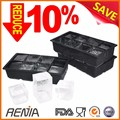 Renjia black bpa free flexible rubber ice cube tray customized ice maker mold