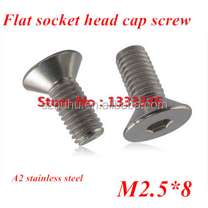 200pcs M2.5*8 DIN7991 <strong>Stainless</strong> <strong>steel</strong> Flat (Countersunk) Head Drive Hexagon Socket Cap Screw <strong>Bolt</strong>