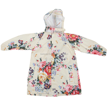 Flower printed kids rain poncho wholesale raincoat