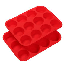 Food grade 12 Cups Silicone Muffin Baking Tray, Cookie Cupcake Bakeware 12 Cups Silicone Muffin Baking Tray