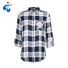 Hot selling oem long sleeve rayon new design plaid ladies blouses tops