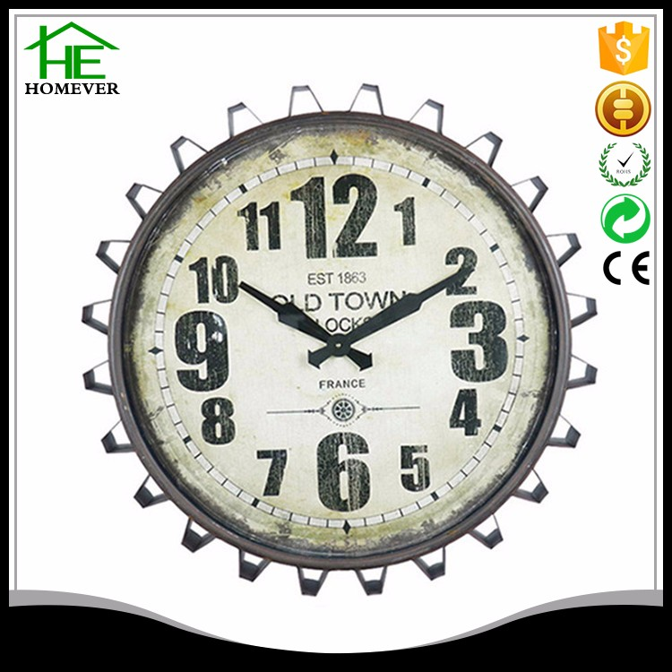 Fuzhou ce rohs brown metal gear clock