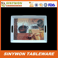 Coffee Cheap Melamine Buffet Serving Tray Plastic With Two Handles