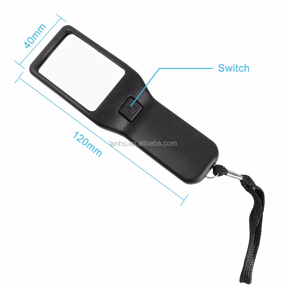 Compact 5X LED Magnifier Super-clear Non-dizzy Non-blurred Magnifying Glass For Reading Money Detector Visual Aid For Seniors