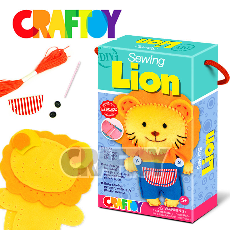 Sewing Lion Easy sewing kit Animal stitching diy toy art and craft toy