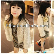 Children's wear spring of noble temperament small apricot dress feather coat leopard grain skirt