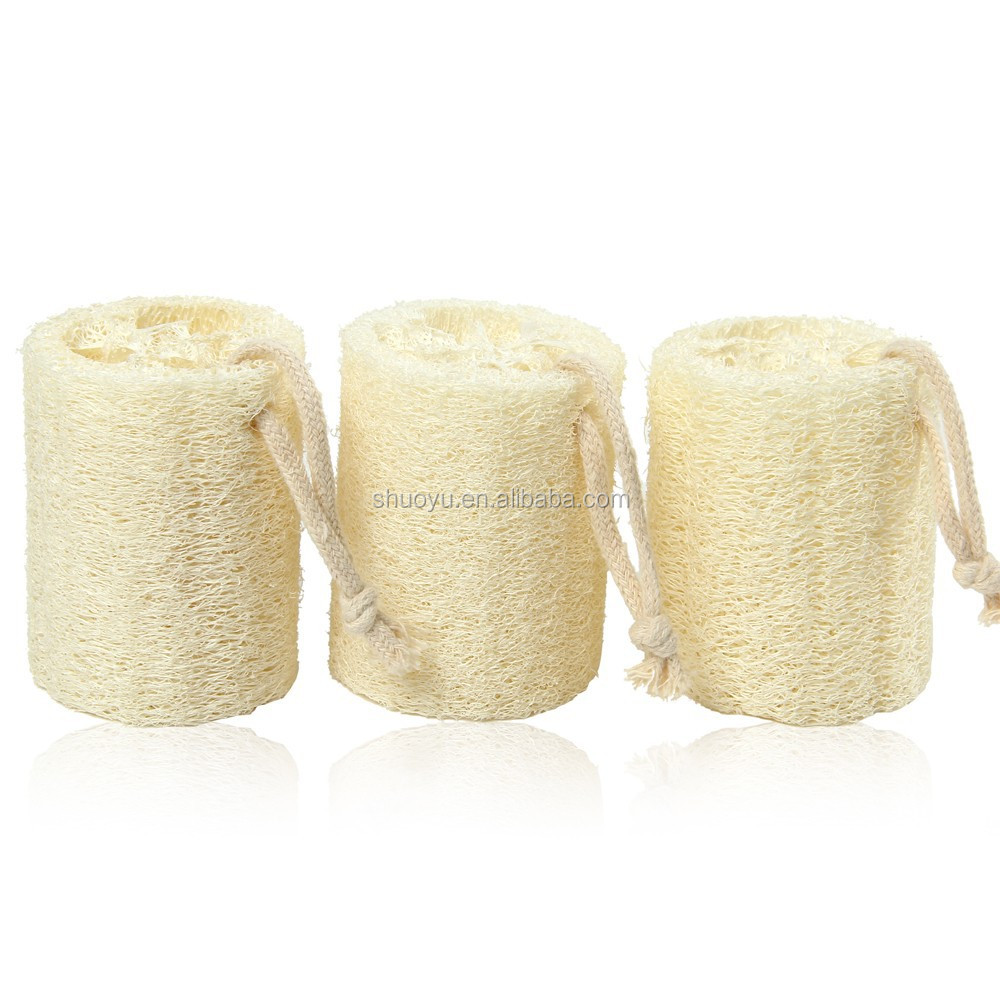 3inch Natural Loofah Sponge Bath Massage Brush Body Face Cleaning Effective Exfoliator Scrubber Pad Beige