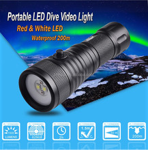 Brinyte DIV08W red white light diving video flashlight