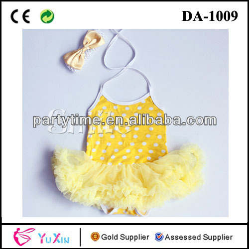 White dot top yellow baby romper dress beautiful child dress lace dress