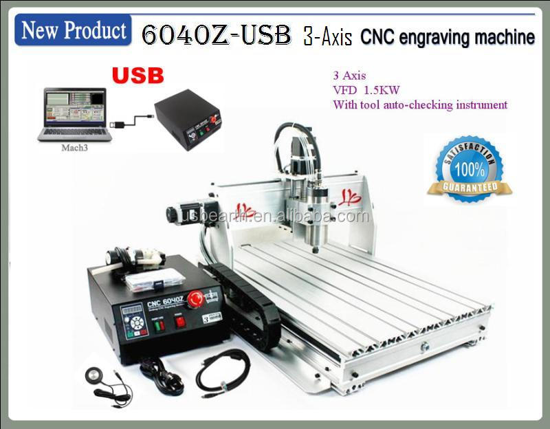 cnc machinery MACH3 USB port CNC router 6040 VFD1.5 kw spindle, engraving machine 3axis or 4 axis ( A axis/rotation axis)