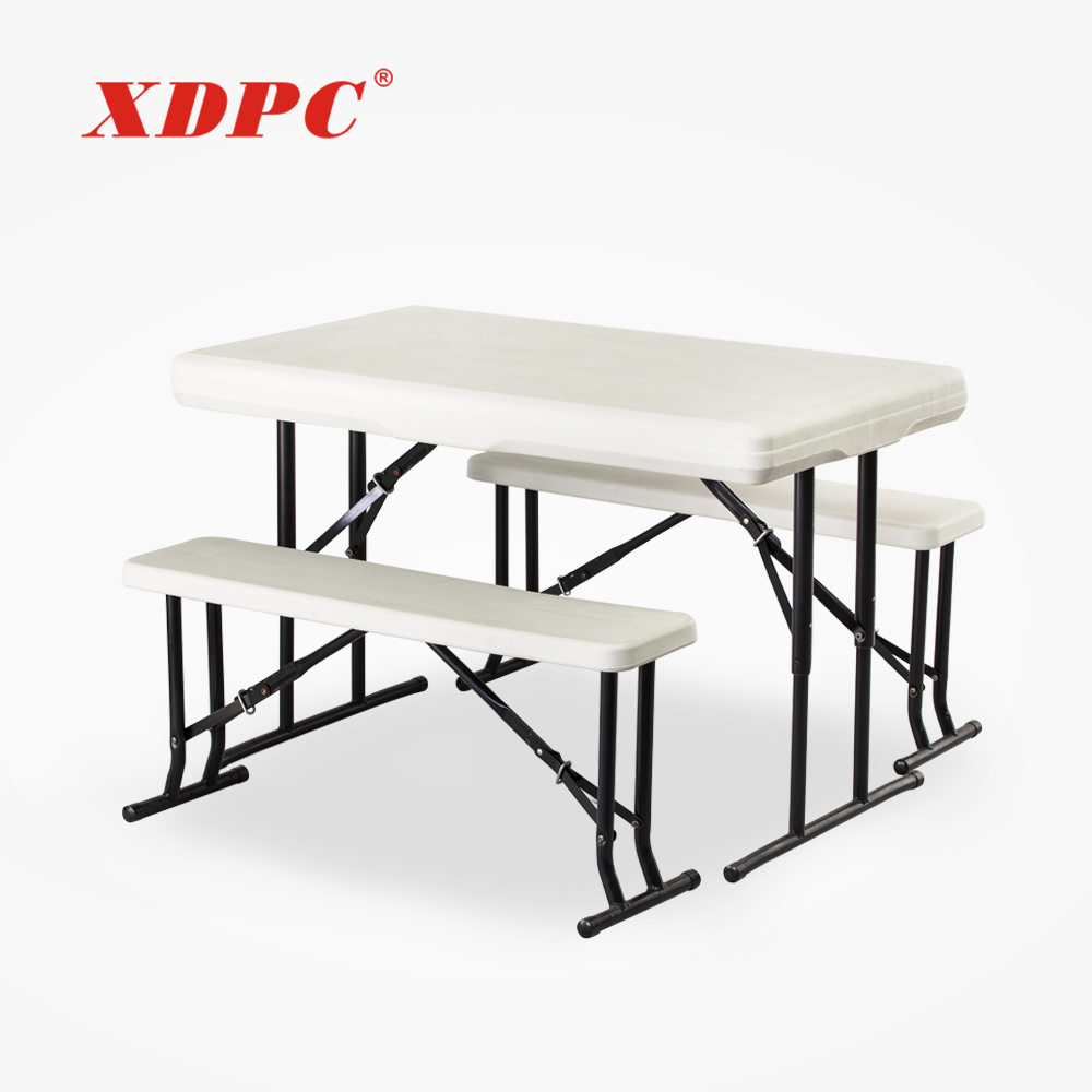 portable white plastic foldable beer garden restaurant folding picnic camping dining table and bench
