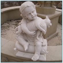 Garden Decoration Life Size Decoration White Stone Marble Children Statue of Boy with Pet