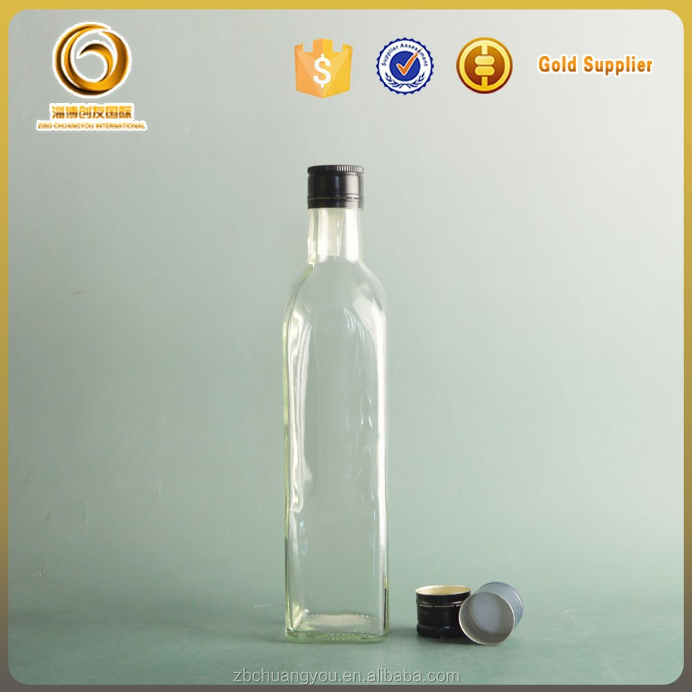500ml square olive oil clear glass bottles with screw cap
