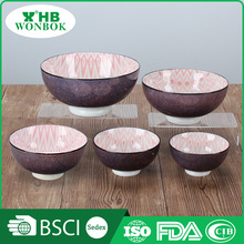 Modern various sizes red pattern ceramic dinner bowl set for south africa