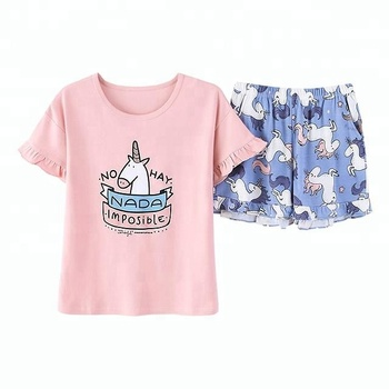 summer short sleeve unicorn high quality cotton pajamas woman