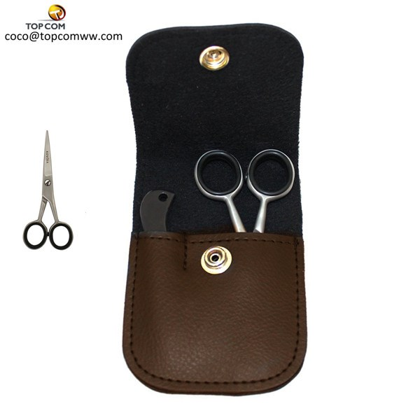 Stainless Steel Barber Scissors / Beard Mustache Scissors Kit with Mini Mustache Comb & Case