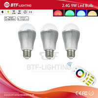 3x 2.4g wifi bulb 9w led e27 RGBW + Mi light dimmable touch screen remote control
