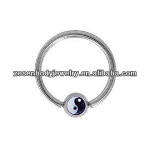 yin-yang logo ball closure rings 16 gauge BCR nose jewelry lip ring in 316l stainless steel body jewelry piercing