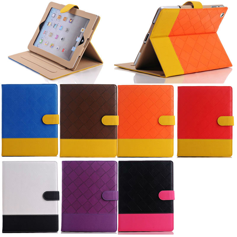 New Color professional leather Stand Case for iPad4/3/2 with stripe
