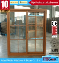 American style pvc sliding windows with grids and mosquito net design